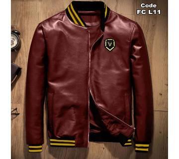 PU Leather Mens Winter Jacket