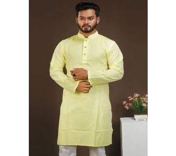 Silk Cotton Panjabi - Cream
