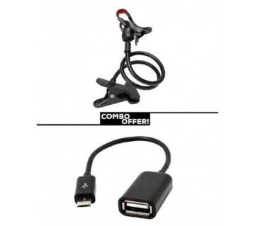 Rotating mobile phone stand holder with  otg  cable