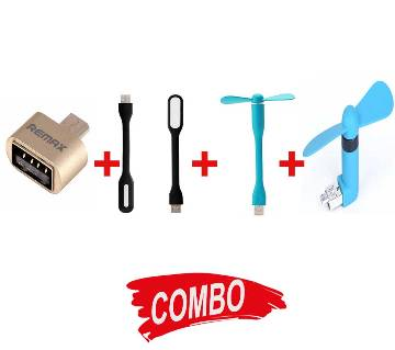 Remax OTG কনভার্টার + USB LED লাইট + USB ফ্যান + Smartphone USB Fan