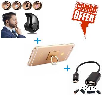 Mini Bluetooth Wireless earphone + Mobile Ring Stand + OTG Cable