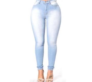 Stylish Blue Denim Ladies Pant for Women