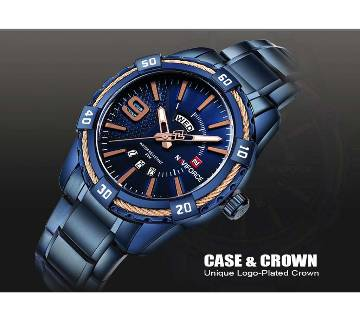 Naviforce NF9117BE Waterproof Stainless Steel Analog Watch For Men - Blue