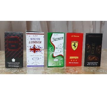 5pcs Attar Roll On Perfume (Axe, Havoc, London, Ferrai, Nazneen)-6ml-France