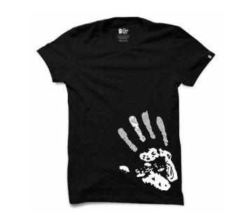 Finger Print Half Sleeve Round Neck T Shirt For Men