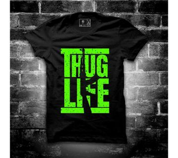 Thug Life Half Sleeve Round Neck T Shirt For Men