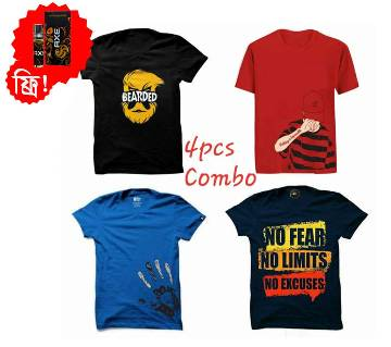 Half Sleeve Round Neck T Shirt For Men (4 pcs Combo Offer) -  Ator Free
