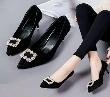 Women Exclusive High Heel with stone Imported Shoes LSH_001- Black Color