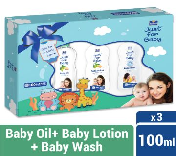 Parachute Just for Baby - Gift Box 100ml x 3 (100ml Baby Lotion, 100ml Baby Wash, 100ml Baby Oil)