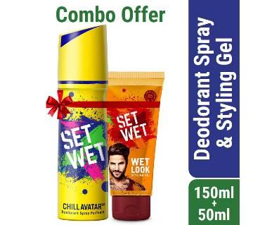 Set Wet Deodorant Spray Perfume Chill Avatar 150ml with Set Wet Hair Gel Wet Look 50ml Free