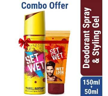 Set Wet Deodorant Spray Perfume Thrill Avatar 150ml with Set Wet Hair Gel Wet Look 50ml Free