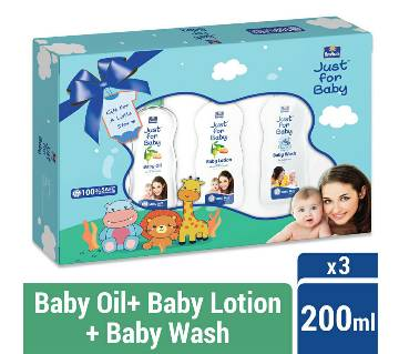 Parachute Just for Baby - Gift Box 200ml x 3 (200ml Baby Lotion, 200ml Baby Wash, 200ml Baby Oil)