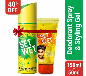Set Wet Deodorant Spray Perfume Charm Avatar 150ml & Set Wet Hair Gel Ultimate Hold 50ml Combo Offer