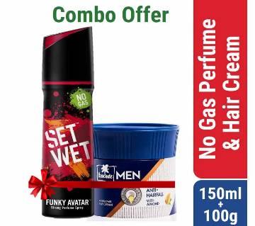 Set Wet No Gas Perfume Funky Avatar 120ml & Parachute Advansed Men After shower Anti Hairfall Cream 100g Combo Offer