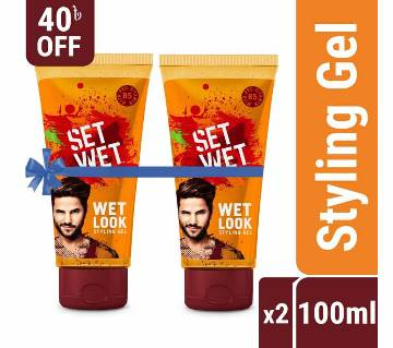Set Wet Hair Styling Gel for Men Value Pack - Pack of 2, Wet Look (100ml x 2)