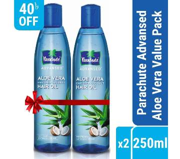 Parachute Hair Oil Advansed Aloe Vera Enriched Coconut - 250ml Value Pack, Pack of 2 (250ml x 2)