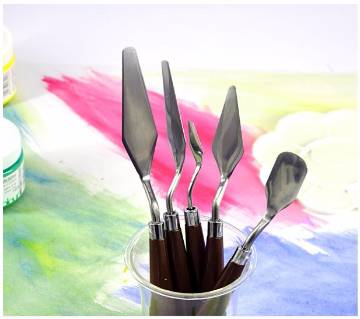 5Pcs Paint Kit Palette Knife Fine Arts Painting Stainless Steel Spatula Mixing Professional Scraper