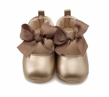 Leather Soft Toddler bowknot Infant Baby Girl Shoes (12-18 Months Baby)