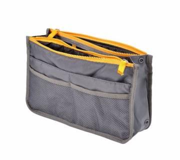 Portable Polyester  Multifunctional Women Insert Cosmetic Organizer Makeup Bag
