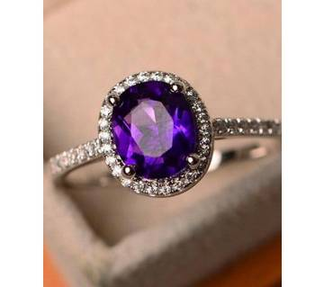 Crystal Zircon Stone 925 Silver Purple Rings For Women
