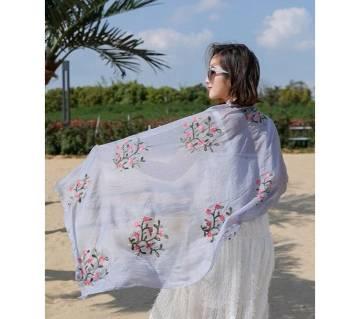 Luxury  Silk Flower Embroidery Chiffon Scarf For Women