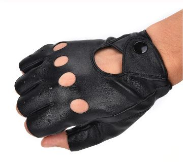 1Pair Comfortable  Half Finger Driving PU Leather Gloves
