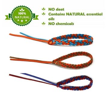 2 pcs Outdoor camping two-color leather repellent bracelet anti-mosquito knitted  bracelet
