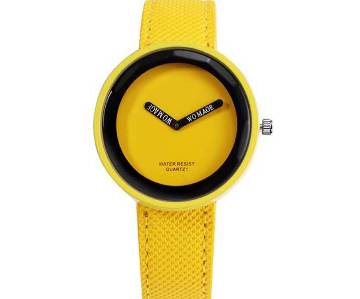 Yellow Leather Strap Wrist Watches  For Women