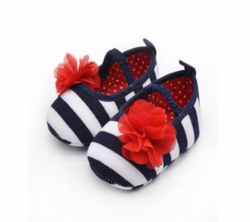 Red Flowers  Baby Girls Soft Shoes