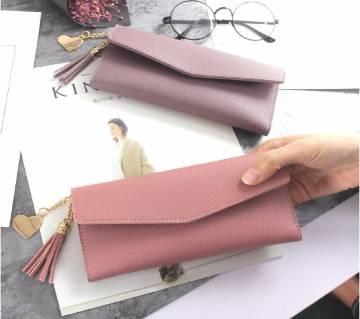 PU Leather Solid Long Stylish Slim Tassel 3 fold  Wallet For Women