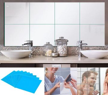 6pcs Home Decor Square Wall Decor Mirror Tile Wall Sticker
