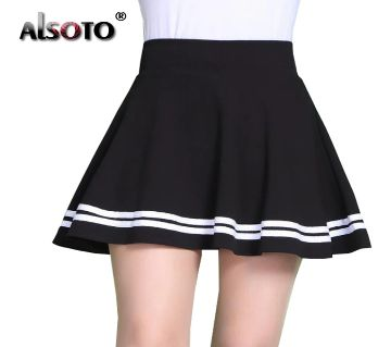 Solid Black White Color Soft Short Skirt