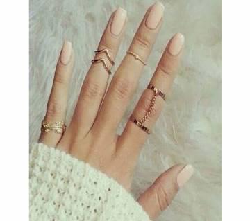 5pcs V joint finger chain Ring For Women