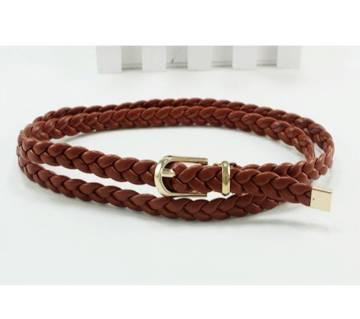 Women PU Leather 90cm Weave  Belt For Dress