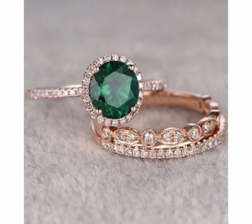3Pcs/Set Green Stone Crystal Gold Zircon Rings for Women