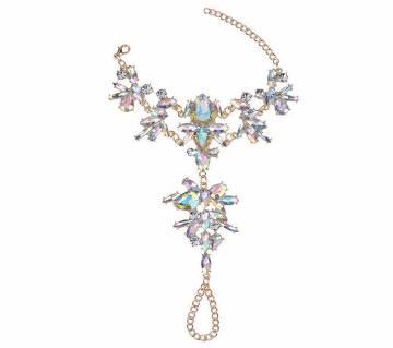 Luxury Crystal Crystal  Link Chain Finger Ring Bracelet For Women