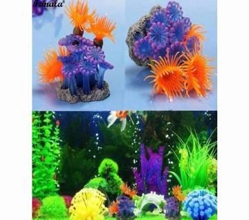1 Pcs Aquarium Glass Fish Tank Emulational Soft  Coral