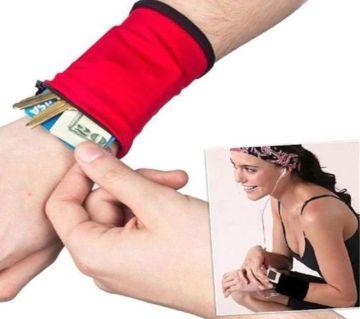Unisex Zipper Money Storage Bag Wrist Band Safe Wallet