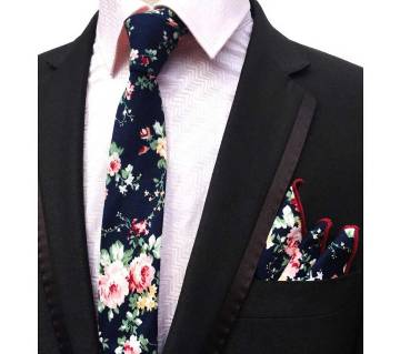 Luxury Floral Print Cotton 6cm Slim Pocket Handkerchief&Necktie Set
