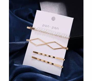 4Pcs/Set Women  Metal Gold Pearl Hair Clip For Women