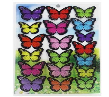 18PCs/lot  Plastic Butterfly Wall Stickers  Double Side Glue Added For decoration