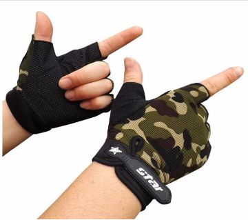 Cycling Bike Gym Fitness Sports Motorcycle Accessories Synthetic Leather Half Finger Gloves