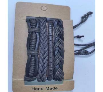 4pcs/set Woven Punk Vintage Leather Bracelets For Men