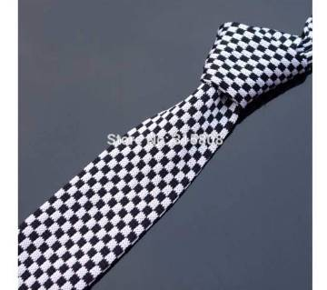 Slim Knitted  Black White Checked Skinny Flat Head Ties