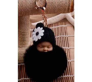 Sleeping Baby Doll Fluffy pom pom Keychain Keyring