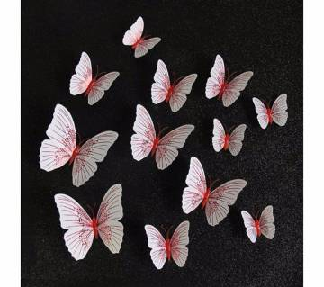 12 Pcs Magnetic+Glue PVC 3D Butterfly Decorative Stickers For Home Decor