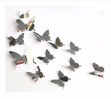 12PCs 3D Mirror Butterflies Wall Sticker For Home decor