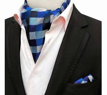 Mens Silk Ascot Tie & Handkerchief Sets For Business Wedding Party