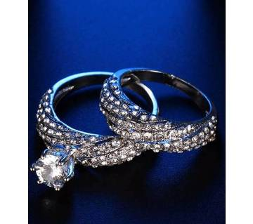 2 Pcs/Sets Crystal  Stone Rings For Women