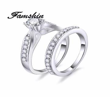 2PCS/SET Charm Crystal Silver Ring For Women